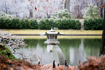 Stone lantern in ice, Japanese Garden